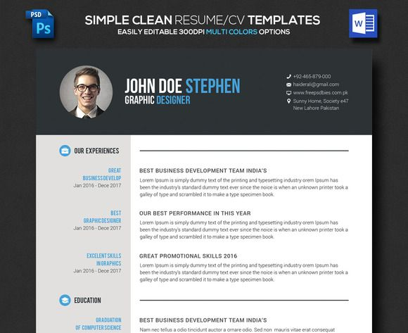 Simple Clean Resume/CV by Business Templates on @creativemarket
