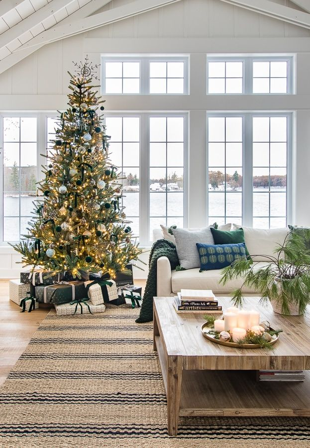 Green and Brass Christmas Living Room #coastallivingrooms