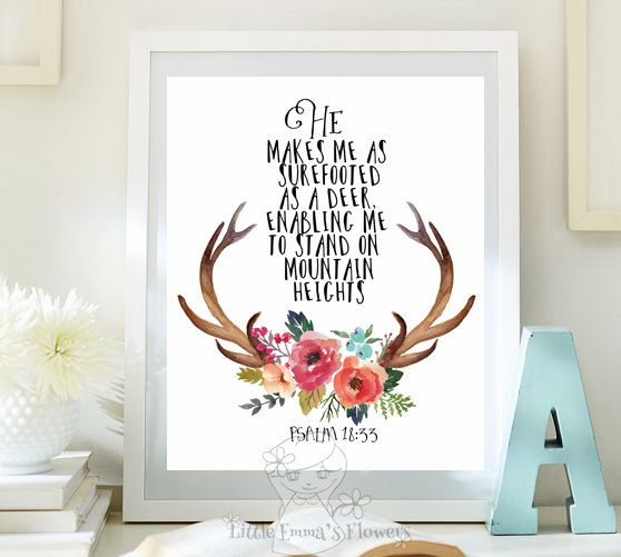 Bible Verse Wall Art bible verse art printable, as a deer, scripture prints, psalm 18