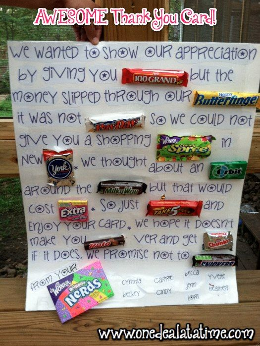 Awesome Candy Thank You Card Father S Day Gift Idea Diy I Want