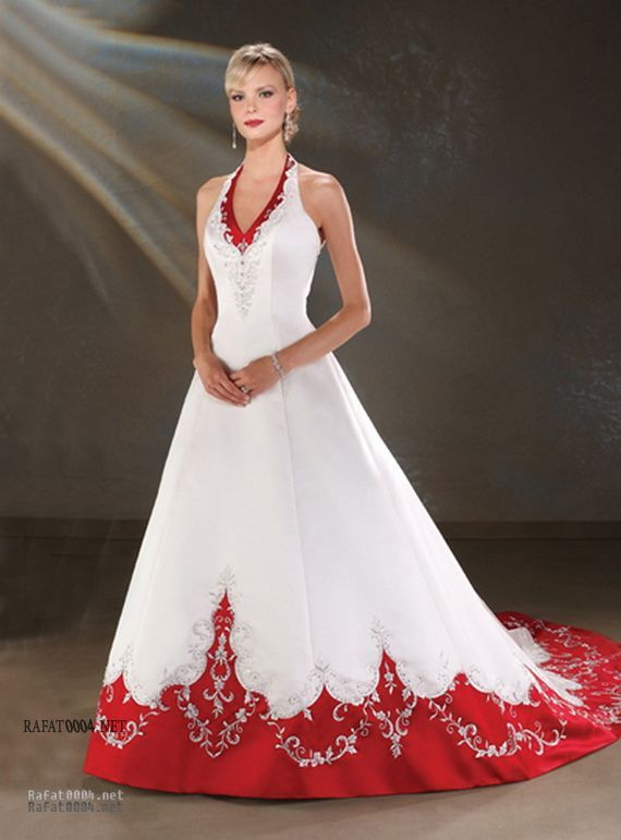 Red Wedding Dresses Princess Styles With Red Trim Wedding Dress