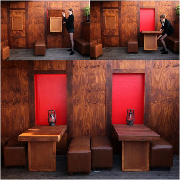 Awesome The Doghouse Rooftop Pop Up Bar   Tables That Fold Out From Timber  Panelling On The