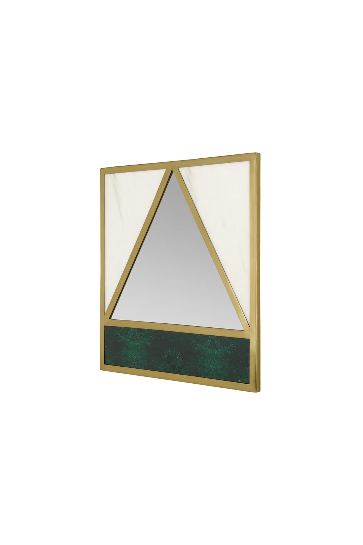 Schema geometrischer Spiegel mit Marmoreffekt, Messing