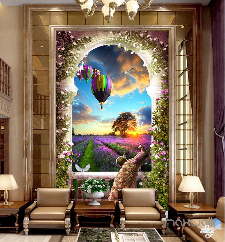 3D Balcony Peacock Hot Airbaloon Lavender Corridor