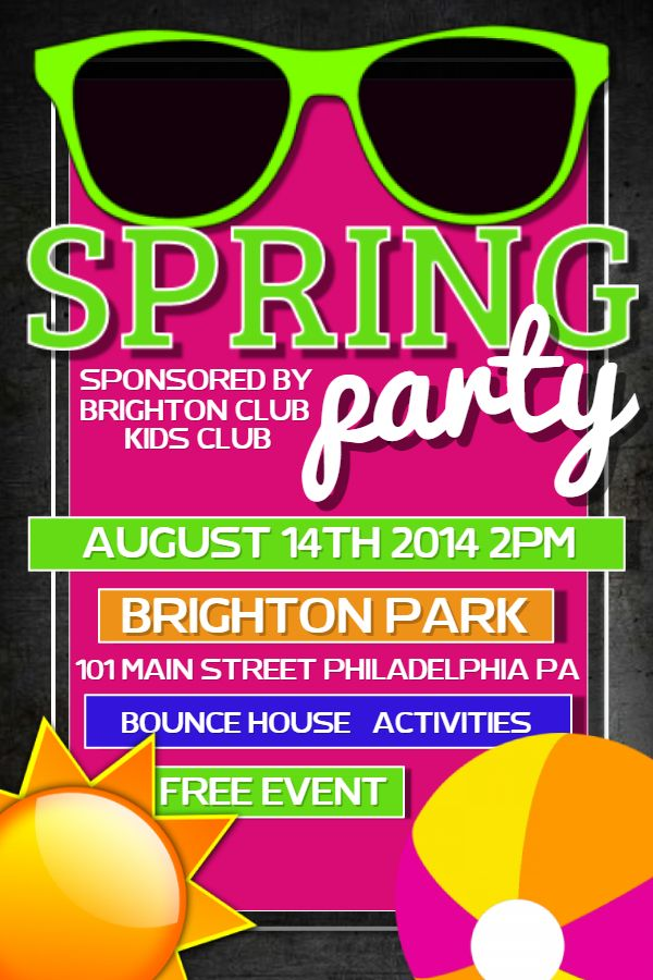 Spring Party Flyer Design Click To Customize  Spring Break