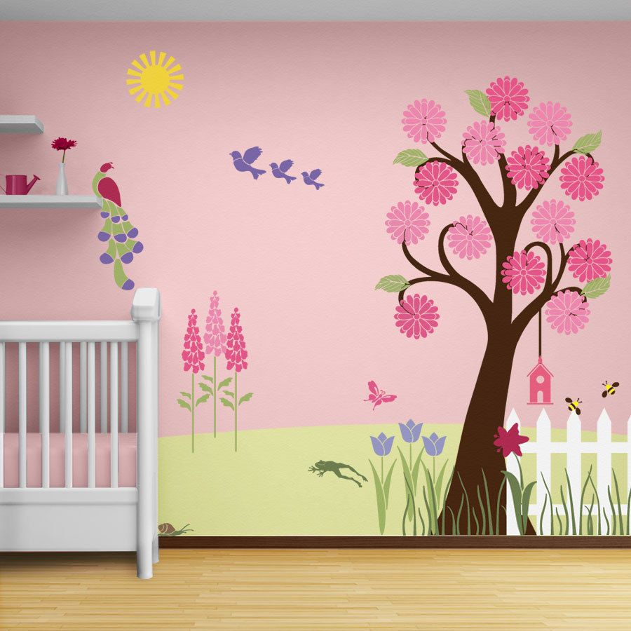 Flower Garden Wall Mural Stencil Kit for Girls or Baby Room ...