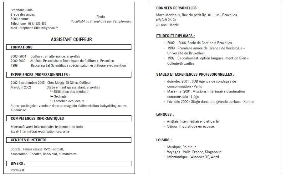 8 Exemple Cv Forem Good Company Workbook Design Reference