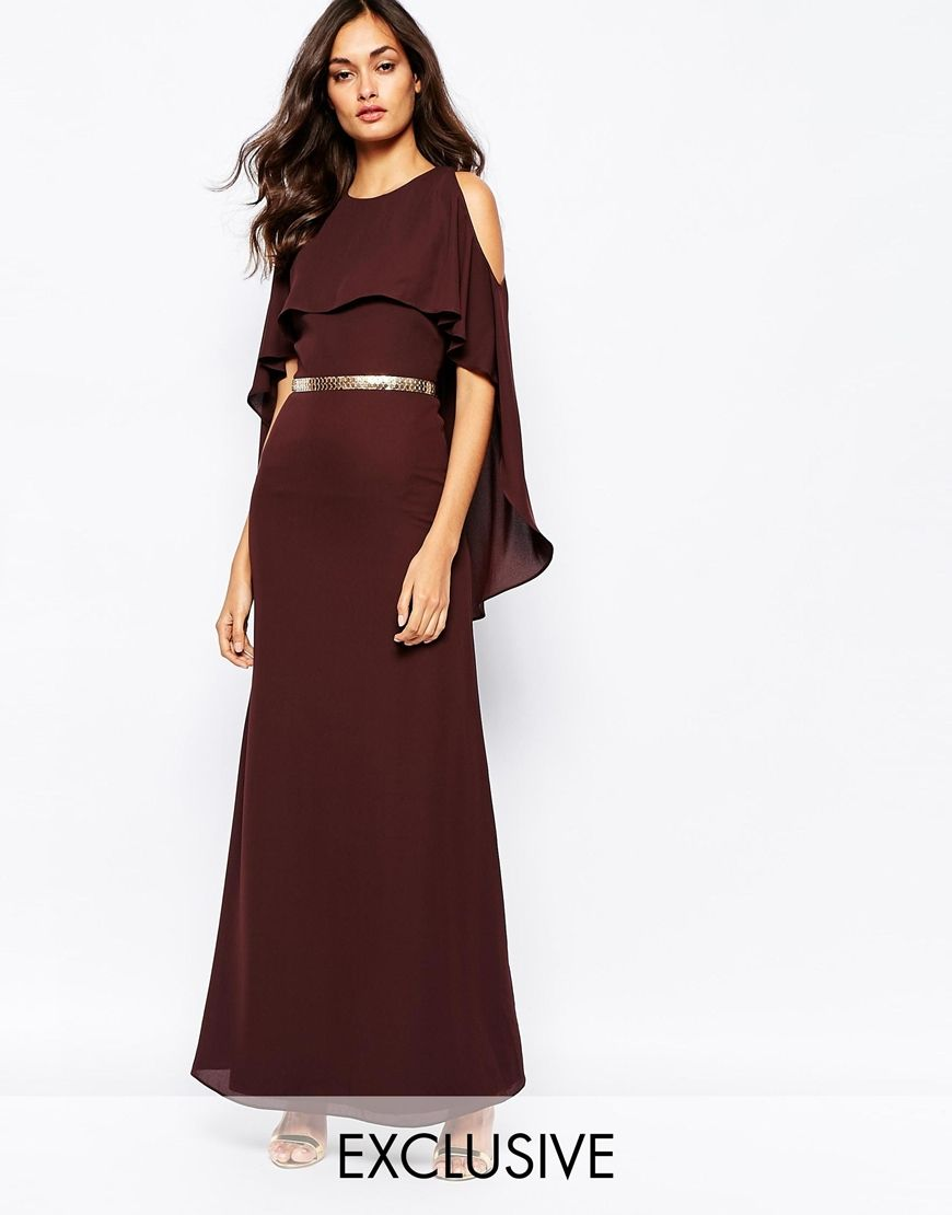 Image of fame and partners glam capri cape maxi dress with metal