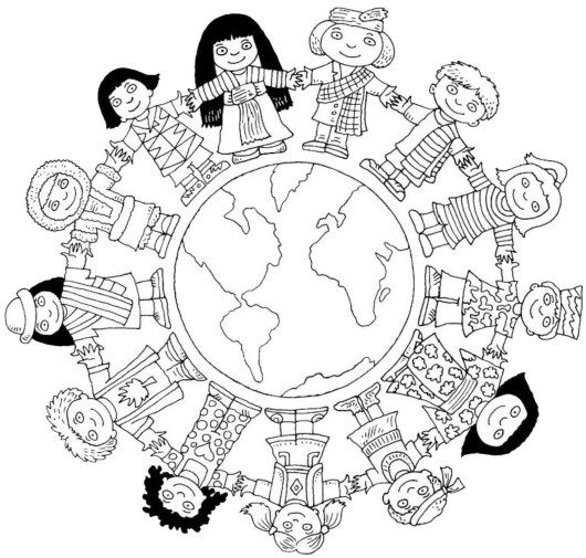 Unity In Diversity In World Coloring Sheet For Kids World Map Coloring Page Coloring Pages Free Coloring Pages