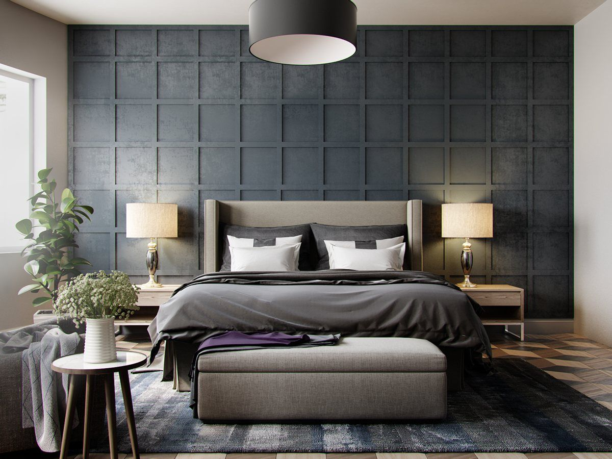 BedroomGrey Wallpaper Bedroom Textured In Squares Chequered With Pendant Light Also Beautiful Plant Alluring