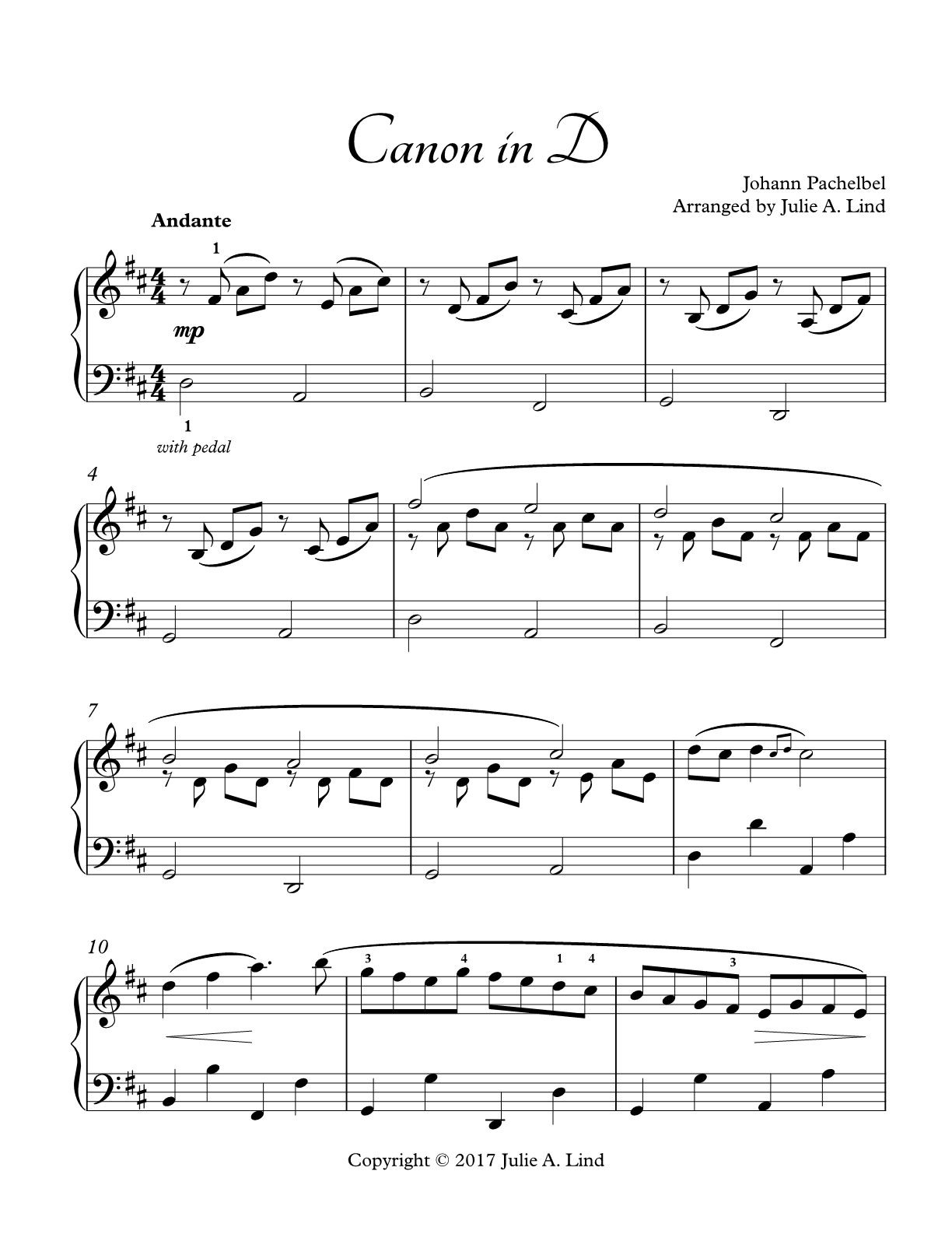 This Beautiful Intermediate Piano Arrangement Of Pachelbel S Canon