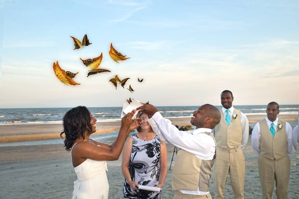 Butterfly release at beach wedding. Photo by Roger Kirby