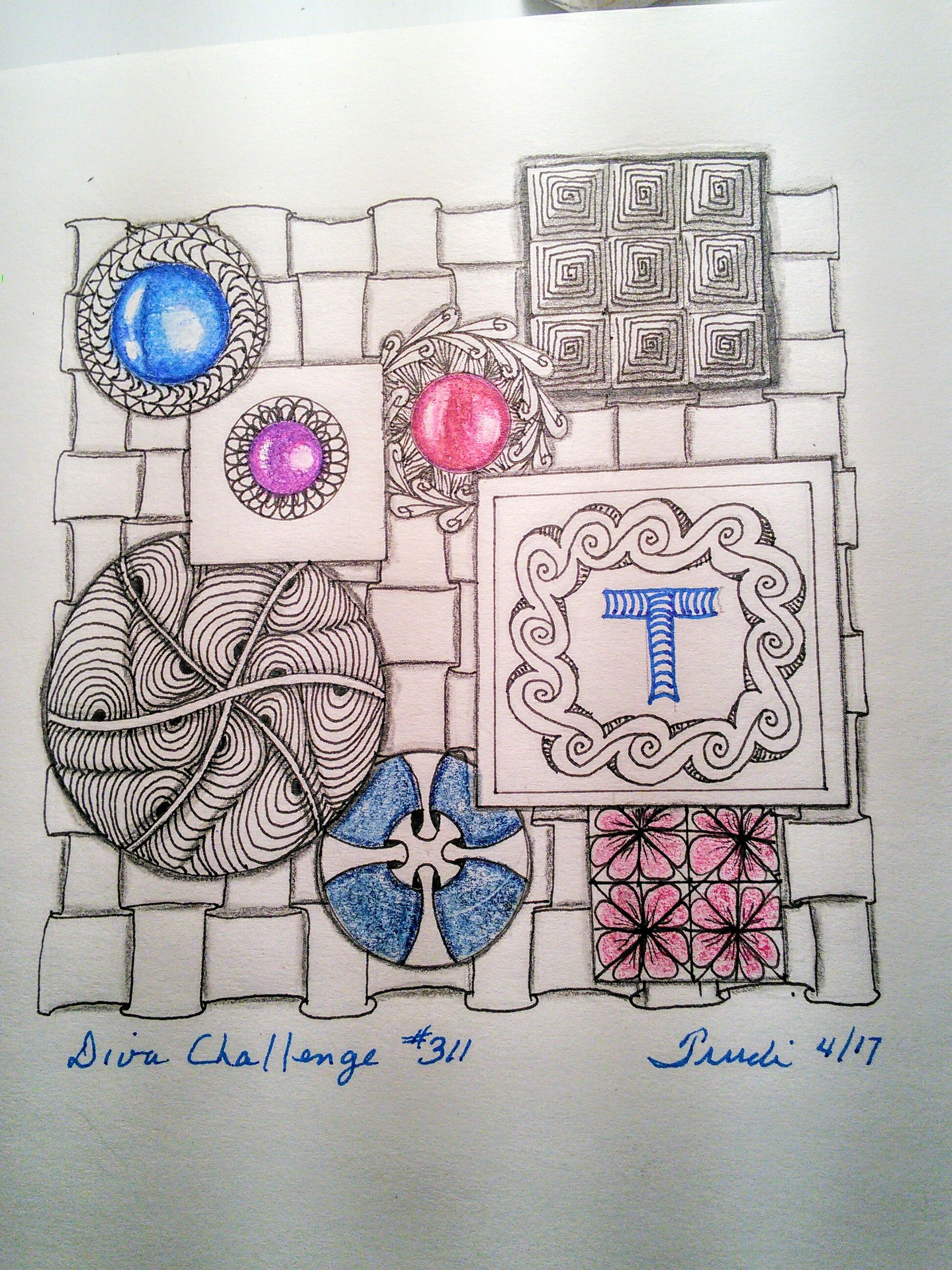 Diva Challenge #311 Circles and Squares using Tangles Ixorus, Inwave, Eddyper, Emingle, Class-EE and Nymph with coloured pencils.