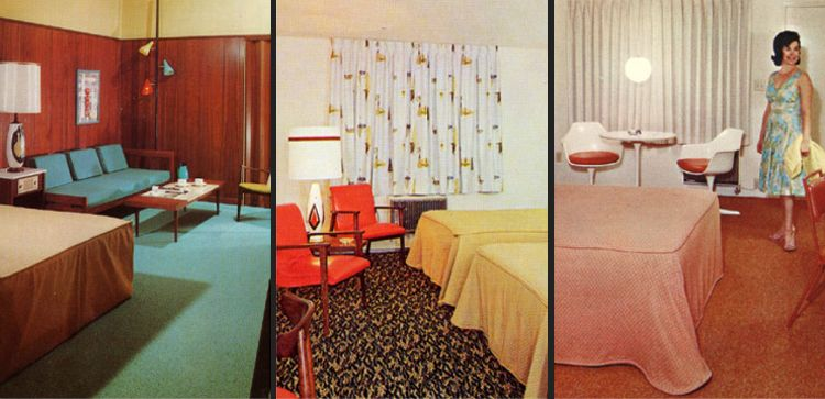Motel Room Postcards Of The 1950s And 60s Mid Century Interior