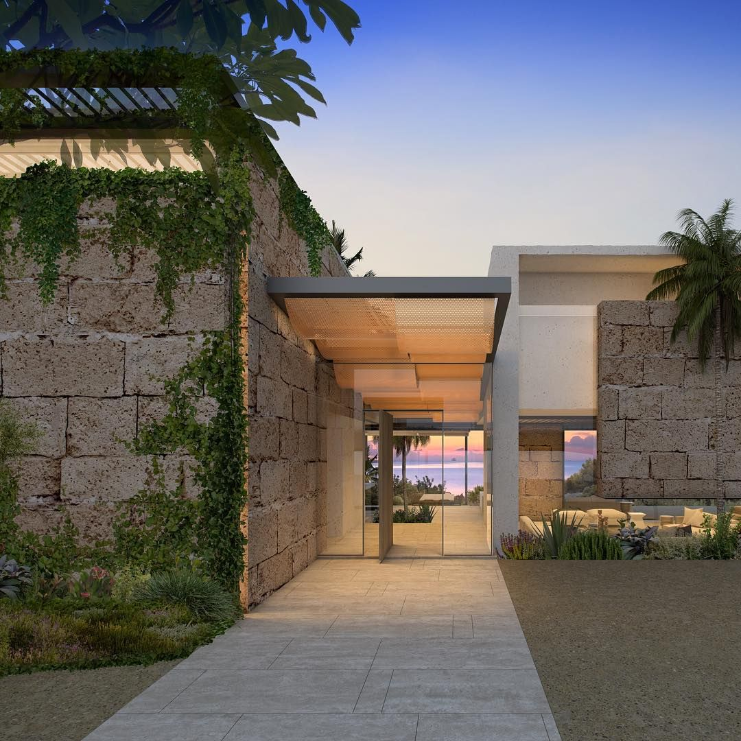 Another image of solar set in mallorca spain local stone for Casa minimalista beverly hills mcclean design california eeuu