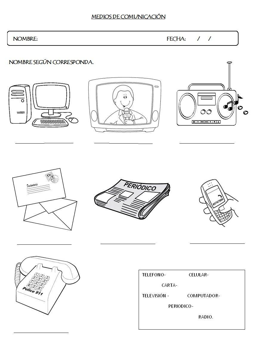 Resultado de imagen para actividades sobre los medios de ...