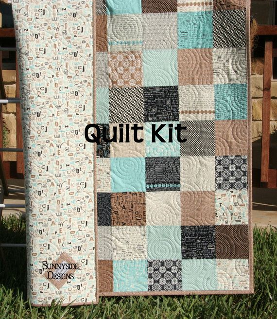 LAST TWO Quilt Kit Elementary Baby Boy Patchwork Crib Sweetwater ... : baby boy quilt fabric - Adamdwight.com