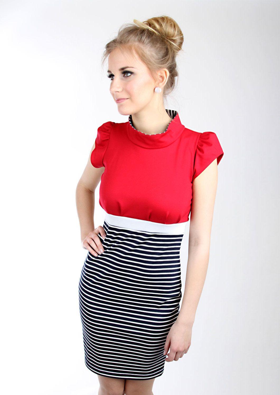 Kleid rot blau streifen