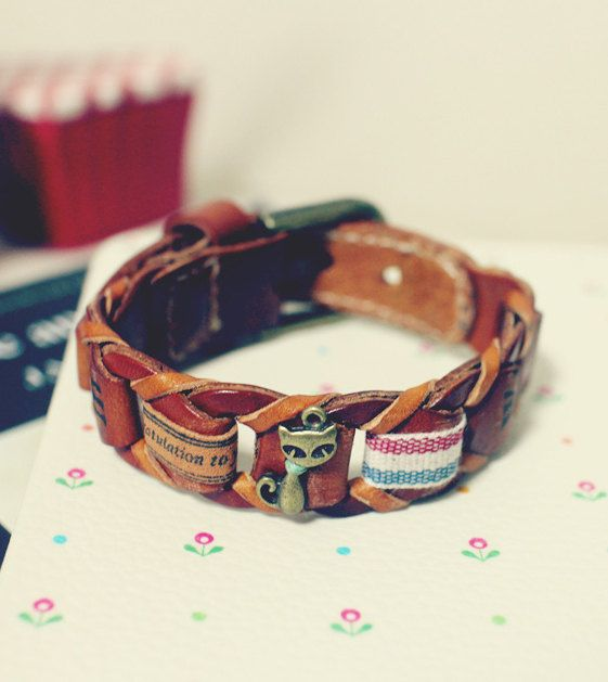 Vintage Retro Twisted Leather Bracelets with Cute Pendants (Unique Design & Good Quality Materials Used) on Etsy, $17.00