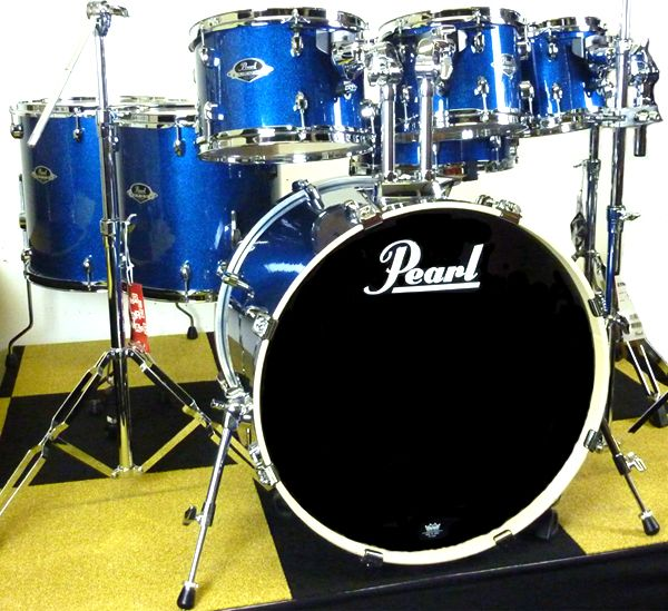 Pearl Export Series Electric Blue Sparkle 7 Piece Drum SetsElectric
