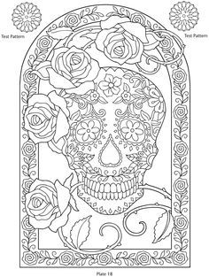 day of the dead printables coloring pages patterns dover publications - Day Of The Dead Coloring Book