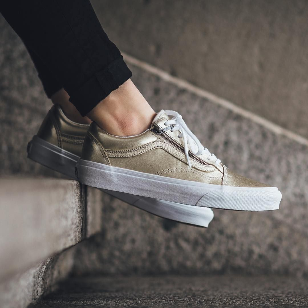 vans old skool platform gold