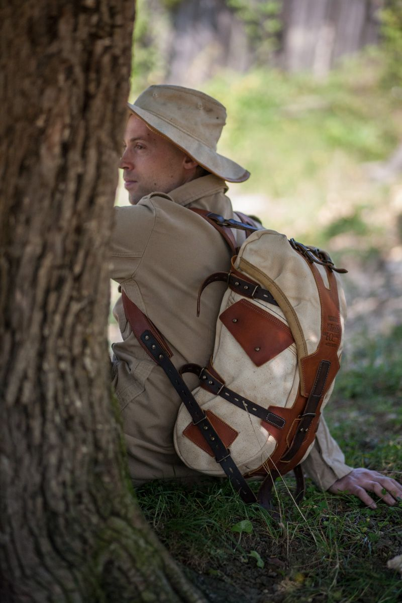 Leather and canvas backpack #072 by Notless Orequal