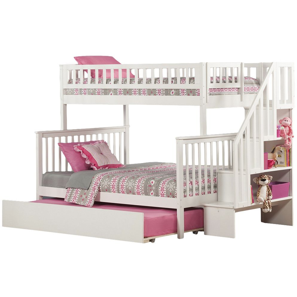 Atlantic Furniture Woodland Twin Over Full Bunk Bed With Trundle Stairs Staircase Bunk Bed Bunk Bed With Trundle Bunk Beds