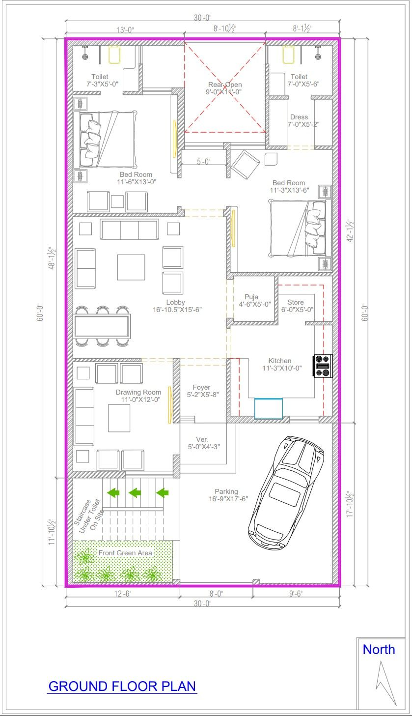 30 60 Floor Planning 3bhk House 20x40 House Plans Indian House Plans Small House Design Floor Plan