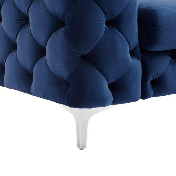 Best Corvus Aosta Tufted Velvet Chesterfield Sofa Navy Blue 640 x 480