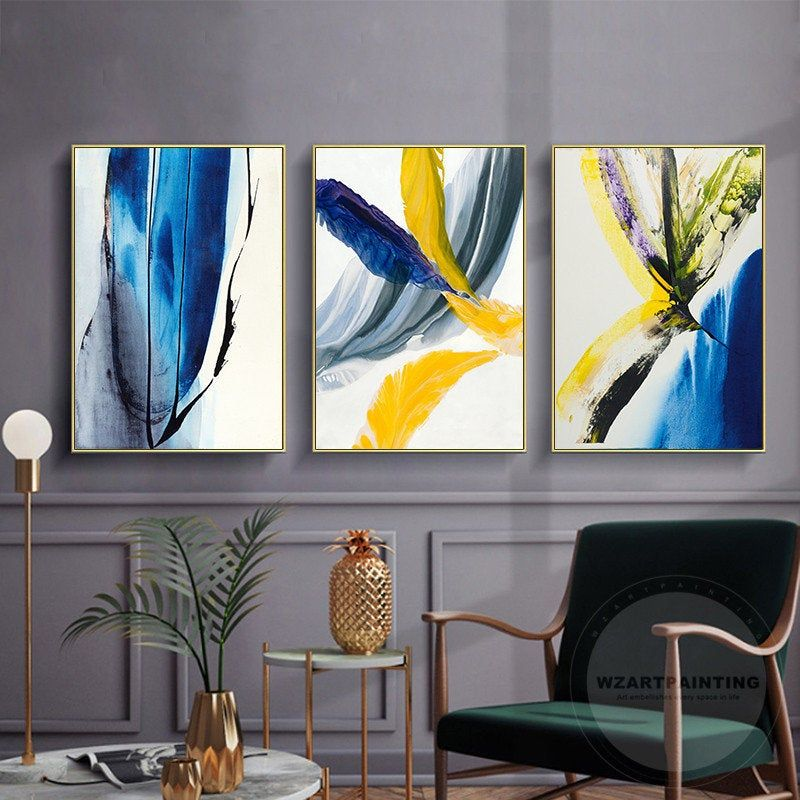 Framed Wall Art Set Of 3 Prints 3 Piece Modern Abstract Navy Etsy Yellow Wall Art Framed Wall Art Sets Seascape Wall Art
