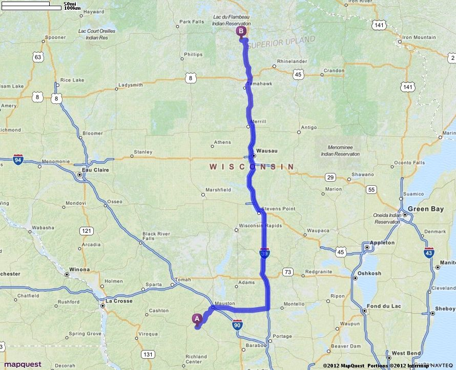 Driving Directions from Wonewoc, Wisconsin 53968 to 7600 Blue Lake Pines Rd, Minocqua, Wisconsin 54548   MapQuest