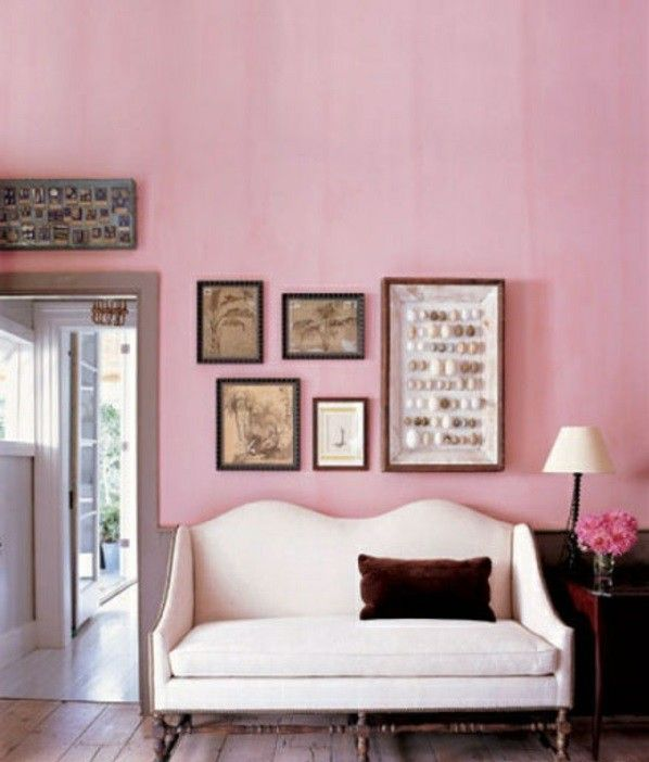 Classic vintage painting dusky Pink Wall color living room | Pink ...