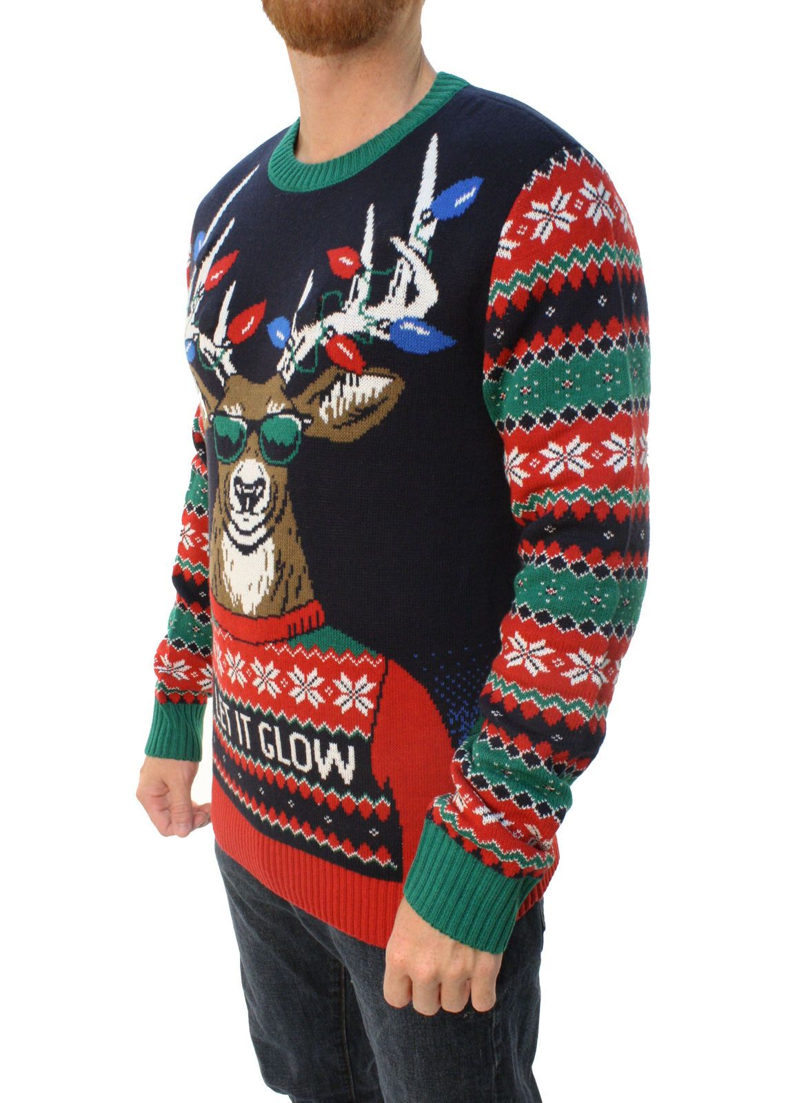 67446e9889706 Ugly Christmas Sweater Men s Let It Glow Reindeer LED Light Up Sweatshirt