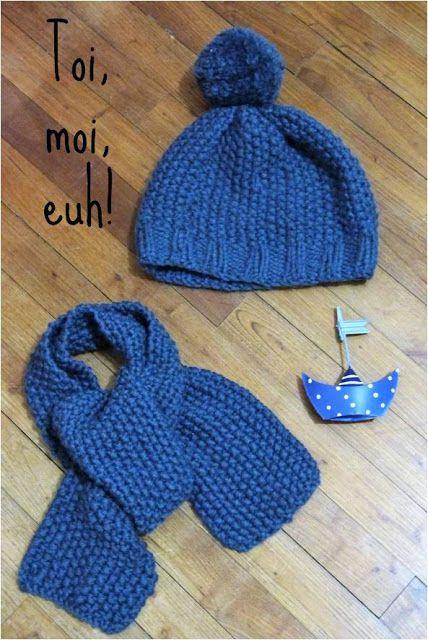 Tuto pour un ensemble bonnet   écharpe en point de riz pour enfant de 3 4  ans 7c1146dec05