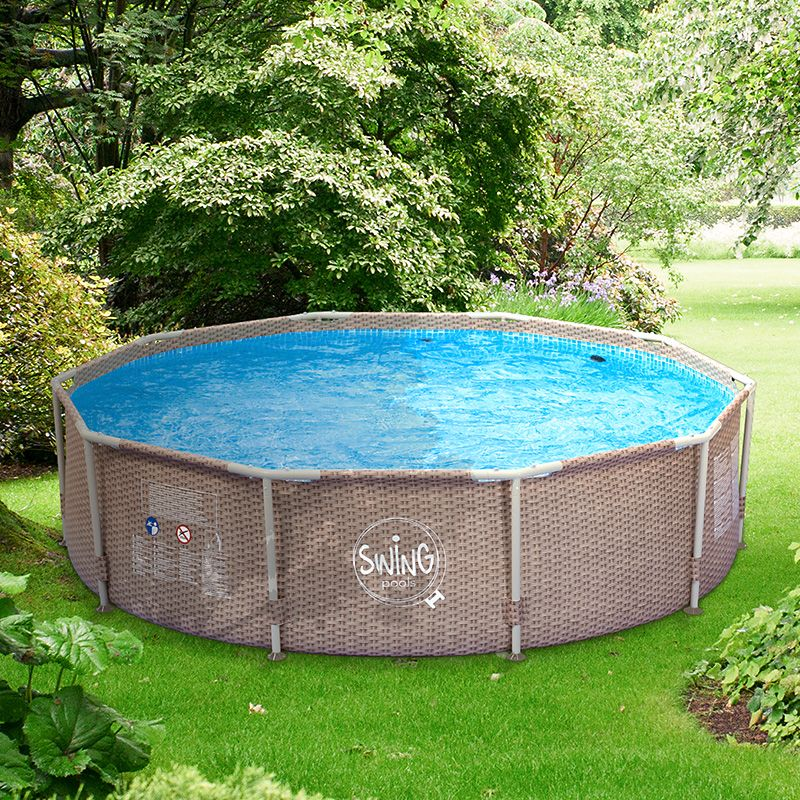 Gem tlich metallrahmen ber den boden pools fotos for Garten pool 457x122