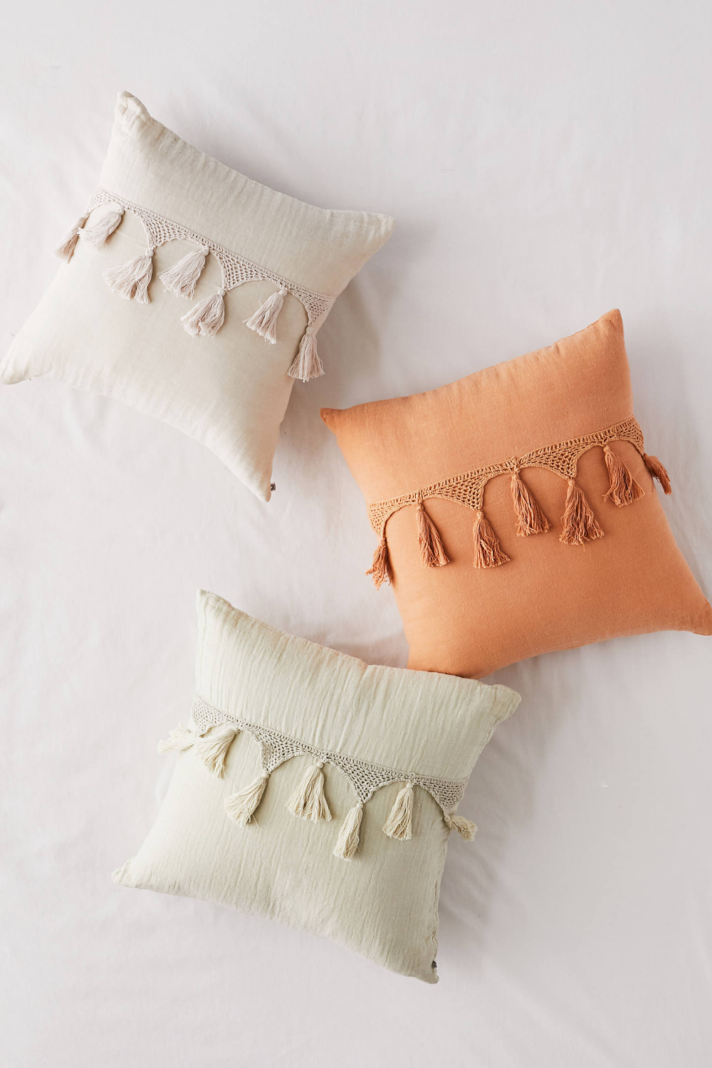 Bungalow Gauze Netted Tassel Throw Pillow Throw Pillows