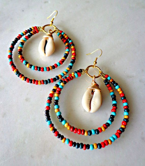Photo of MultiColor Tribal Hoop Earrings, Colorful Jewelry Set, Cowrie Shell Jewelry, Beaded Bohemian Jewelry