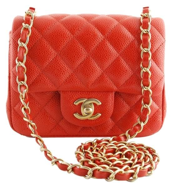 466fb7f9829929 Chanel Square Mini Classic Flap Pearly Orange-red Caviar Gold Hardware Shoulder  Bag. Get one of the hottest styles of the season!