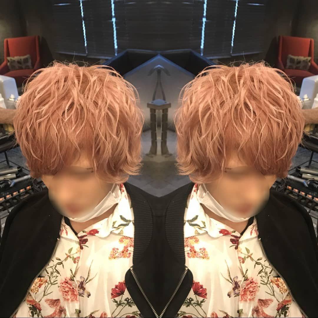 メンズセット ゆるめに巻いてふんわりとアンニュイstyle 髪色のピンク
