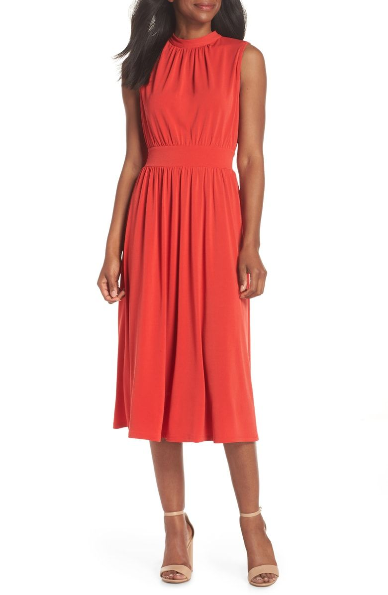 Leota Mindy Shirred Midi Dress Nordstrom Womens Cocktail Dresses Midi Dress Dresses [ 1196 x 780 Pixel ]