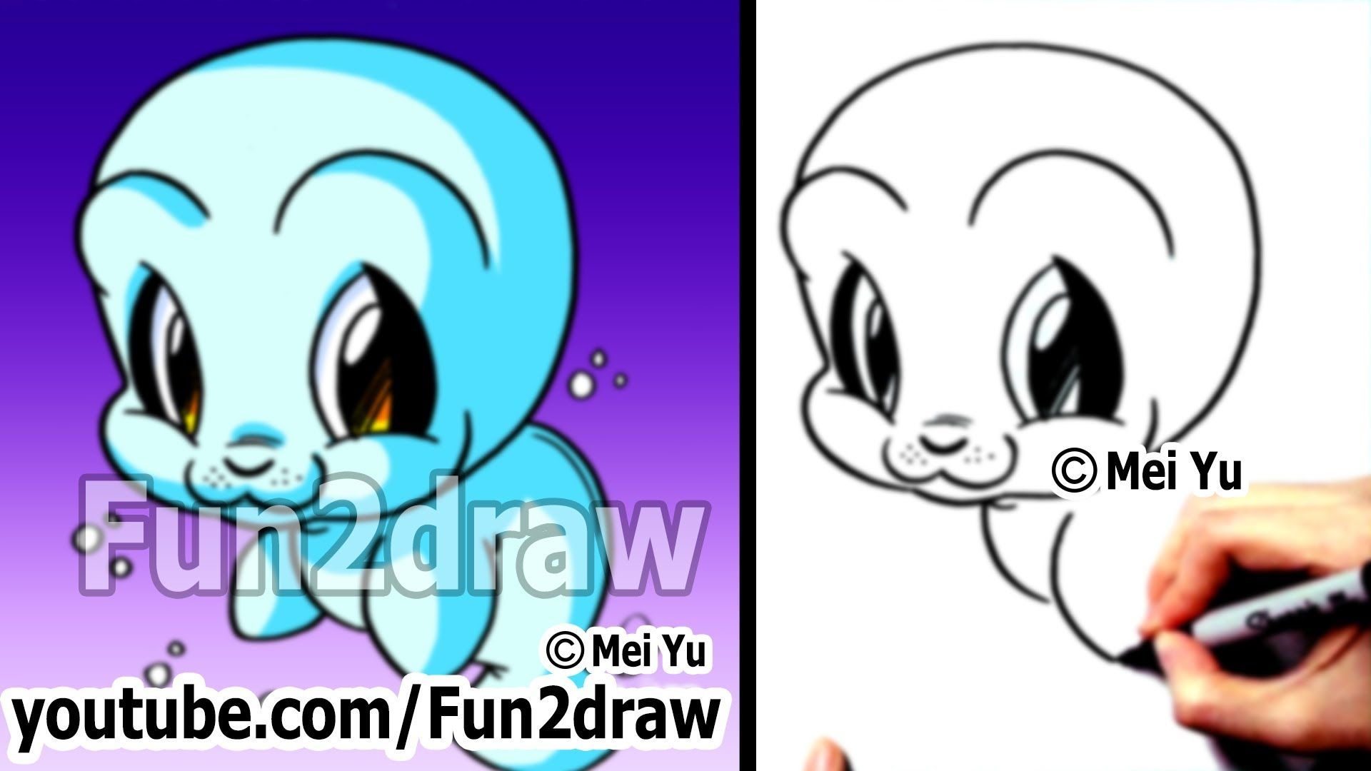 Cute Animals Drawing Tutorial How To Draw Easy Characters Manatee Sea Cow Fun2draw Animal Drawings Cute Animal Drawings Cartoon Drawings