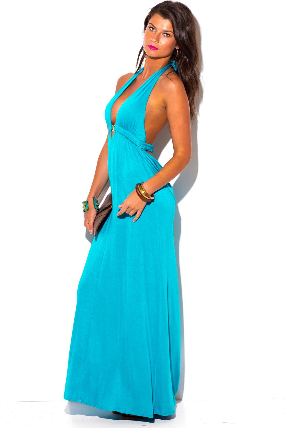 Cute cheap dress - turquoise blue deep v neck bejeweled draped ...