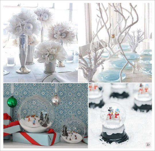 mariage hiver decoration table centre de table boule a neige aquarium tulle oui je le veux. Black Bedroom Furniture Sets. Home Design Ideas