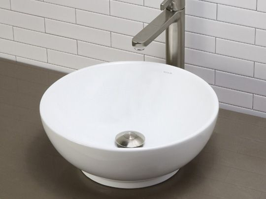 Ceramic Vessel Sinks Round Vitreous China Sink With Overflow White