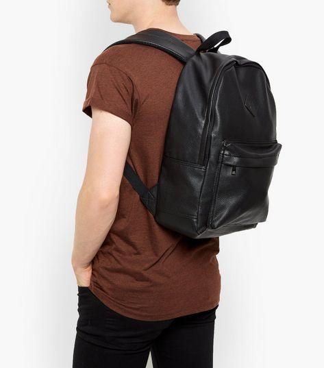 78deee280 Black Leather-Look Backpack | backpack | Leather, Backpacks, Black ...