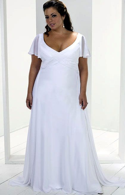 Flowing plus size beach wedding dress considering for vow for Wedding vow renewal dresses plus size