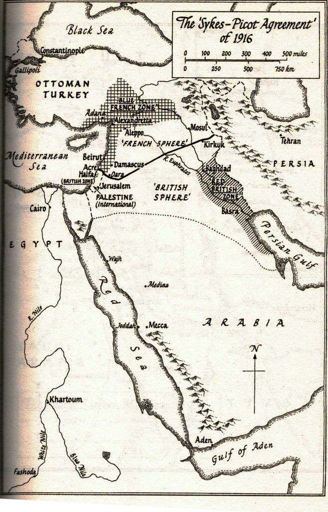 The Sykes Picot Agreement Of 1916 Dividing The Ottoman Areas Of