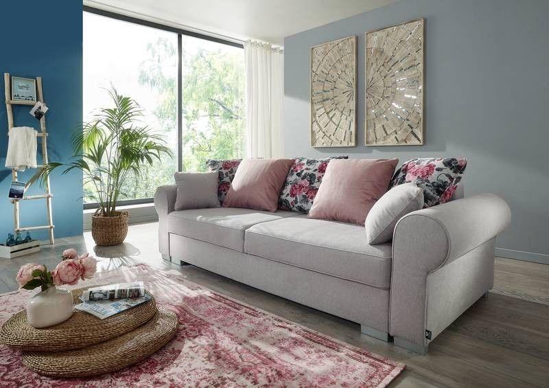 Sofa DELUXE COMFORT mit Schlaffunktion u Bettkasten silber Jetzt