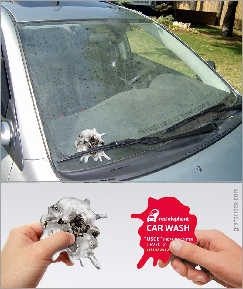 Very nice guerrilla marketing advertising for a car wash salon
